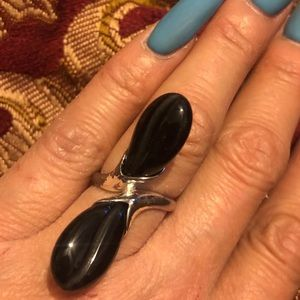 Black onyx sterling silver ring size 6